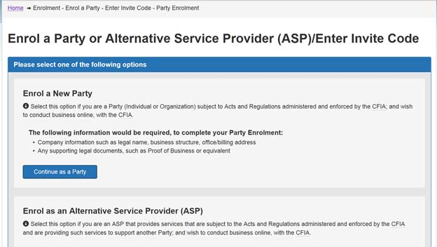Screen capture of the Enrol a Party or Alternative Service Provider (ASP)/Enter Invite Code screen.