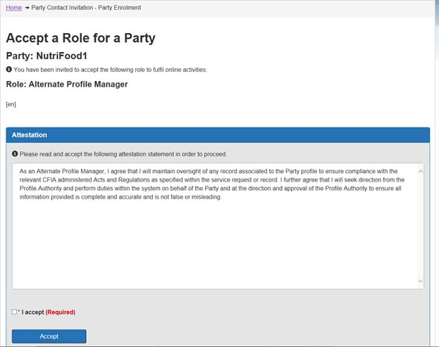 Screen capture of Accept a Role for a Party - Attestation screen. Description follows.