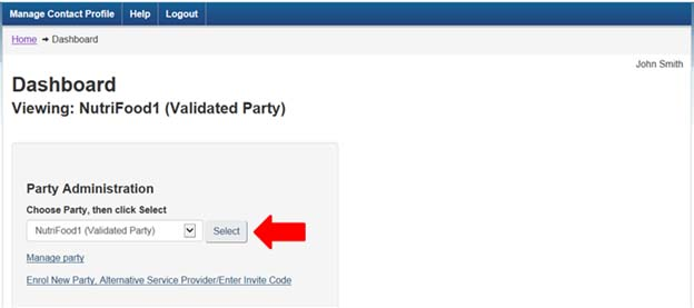 Screen capture of the My CFIA dashboard page, showing how to select the correct party from the drop down list.