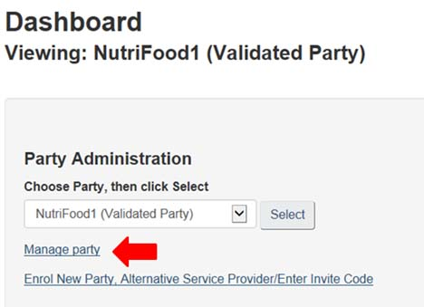 Screen capture of the My CFIA dashboard page, showing how to select Manage Party.