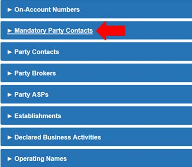 Screen capture of the Manage Party sections. Description follows.