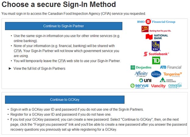 Screen capture of the Choose a secure Sign-In Method screen. Description follows.