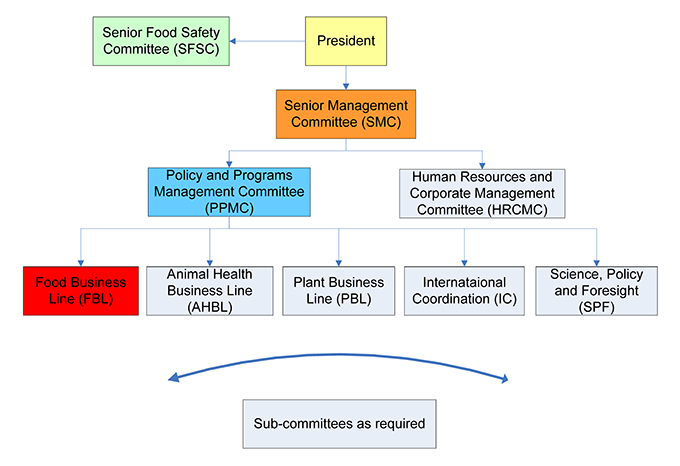 Canadian Food Inspection Agency's internal governance diagram. Description follows.
