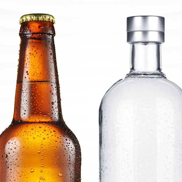 A beer bottle and a vodka bottle