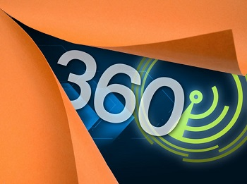A graphic with the number 360