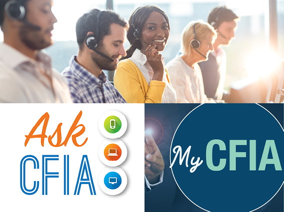 5 people wearing headsets at work. Below this image are two images, one being the Ask CFIA logo and the second being the My CFIA logo