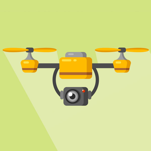 A drone flying with a camera