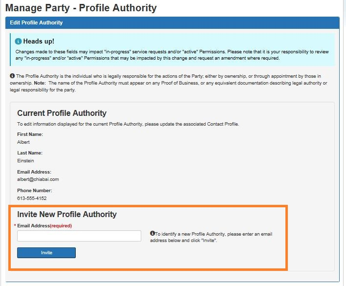 Screen capture of the Manage Party – Edit Profile Authority screen with the Invite New Profile Authority section circled. Description follows.