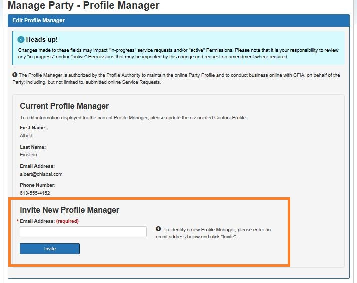 Screen capture of the Manage Party – Edit Profile Manager screen with the Invite New Profile Manager section circled. Description follows.