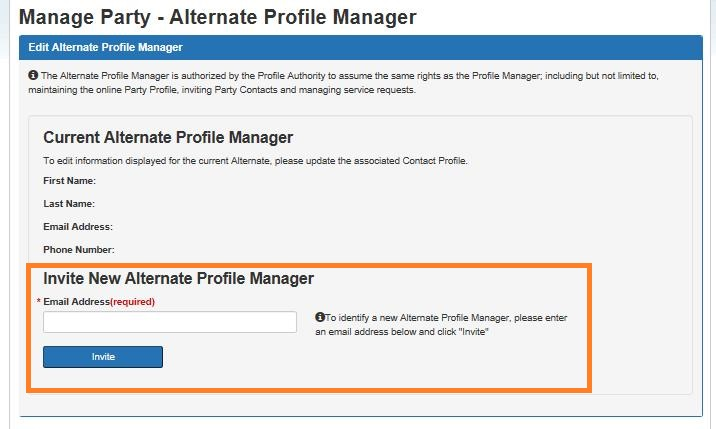 Screen capture of the Manage Party – Edit Alternate Profile Manager screen with the Invite new Alternate Profile Manage section circled. Description follows.