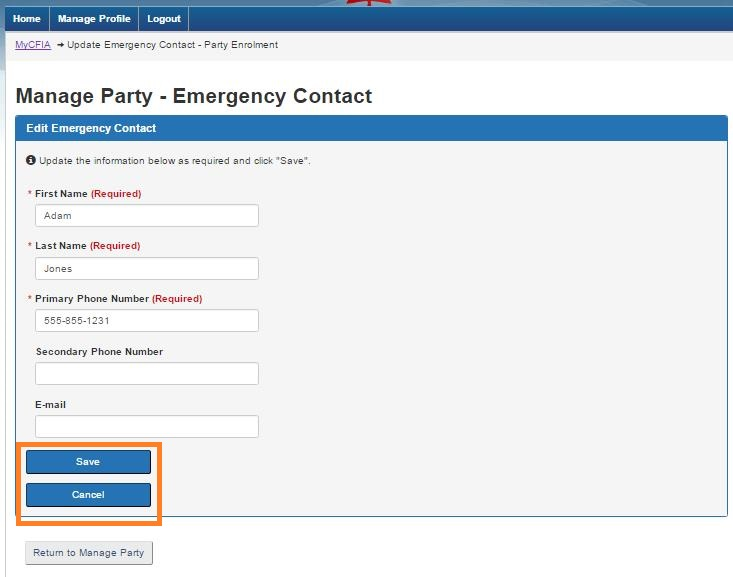 Screen capture of the Manage Party –Emergency Contact screen with the Save and Cancel buttons circled. Description follows.