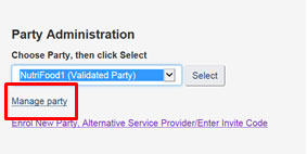 Screen capture of the Party Administration drop-down menu on the My CFIA dashboard. Description follows.