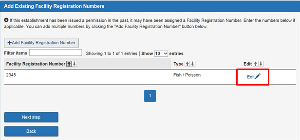 Screen capture of the Add Existing Registration Numbers screen. Description follows.