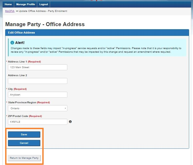 Screen capture of the Manage Party: Edit Office Address screen. Description follows.