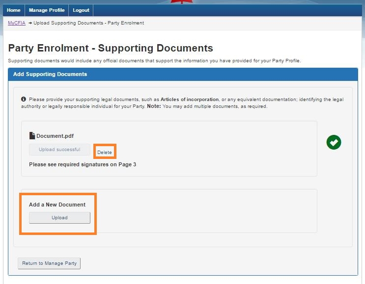 Screen capture of the Party Enrolment – Supporting Documents screen with the Delete link and Add a New Document Upload button circled