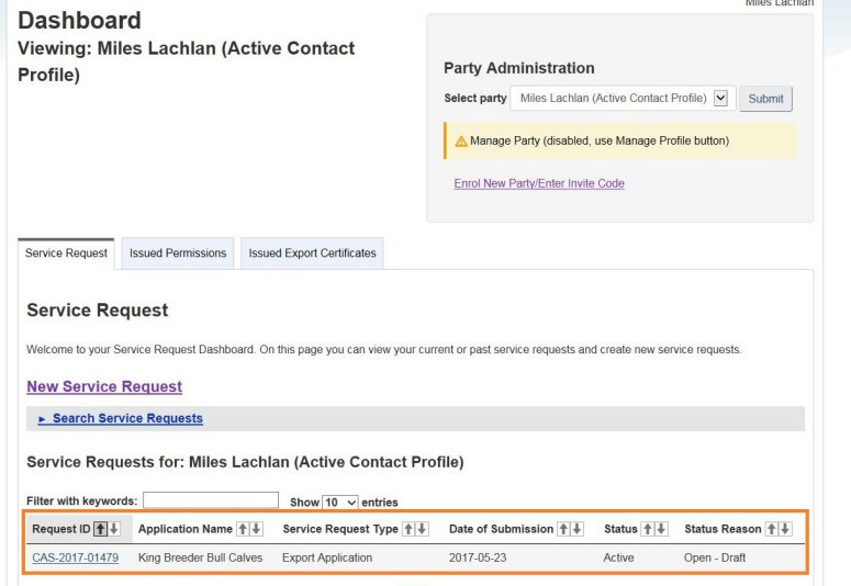 Screen capture of the dashboard with the Service Requests table circled. Description follows.