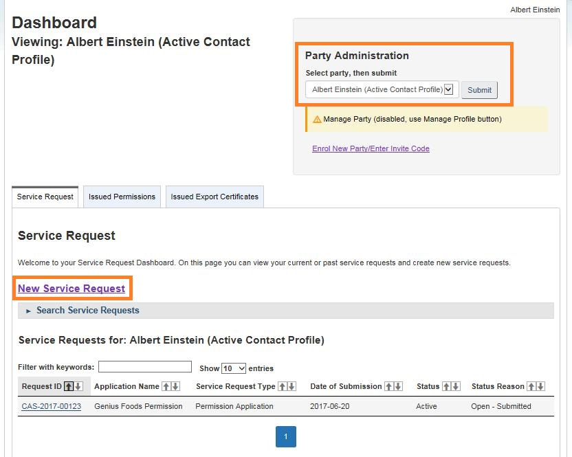 Screen capture of the My CFIA dashboard with Party Administration field circled and New Service Request button circled