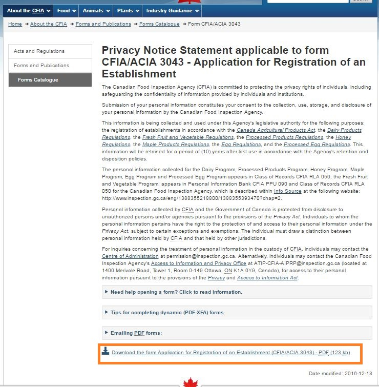 Screen capture of the Privacy Notice Statement screen with Download link circled