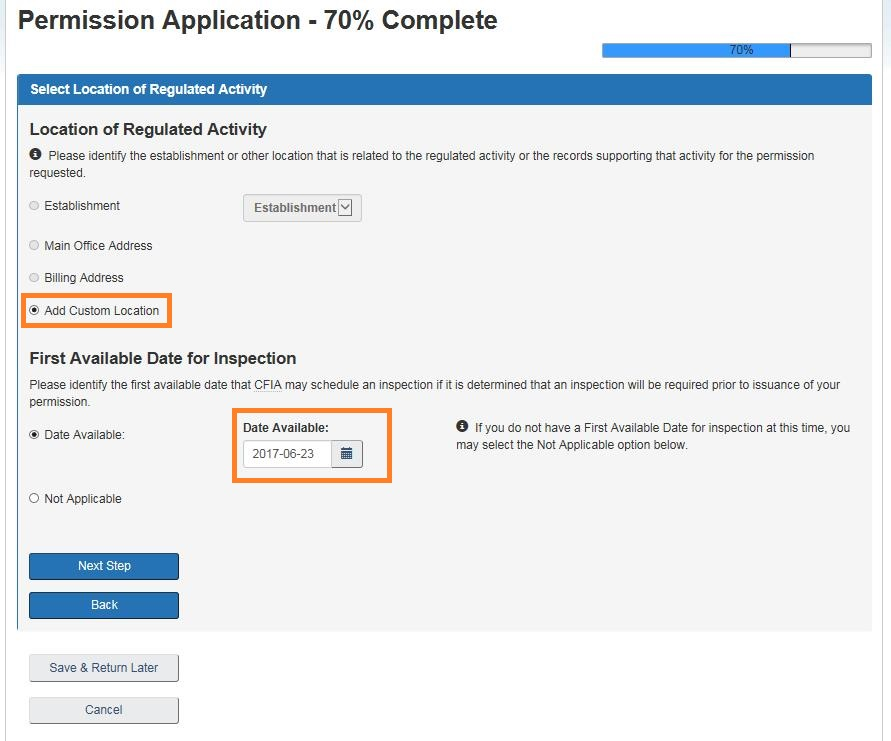 Screen capture of the Permission Application – Select Location of Regulated Activity screen. Description follows.