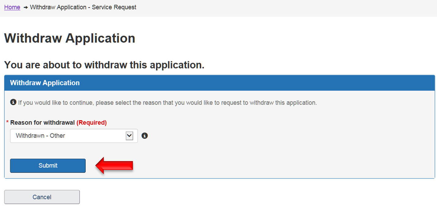 screen capture of Withdraw Application. Description follows.