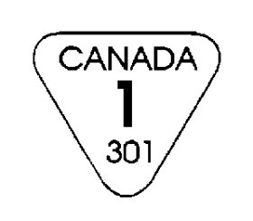 Outline of an inverted triangle with the following text written inside it and centered: the word CANADA, in uppercase bold font, below is written the number 1, and in the bottom is written the number 301. The text CANADA 1 is an example of the yield class, while the number 310 serves as an example of the grader's code number.