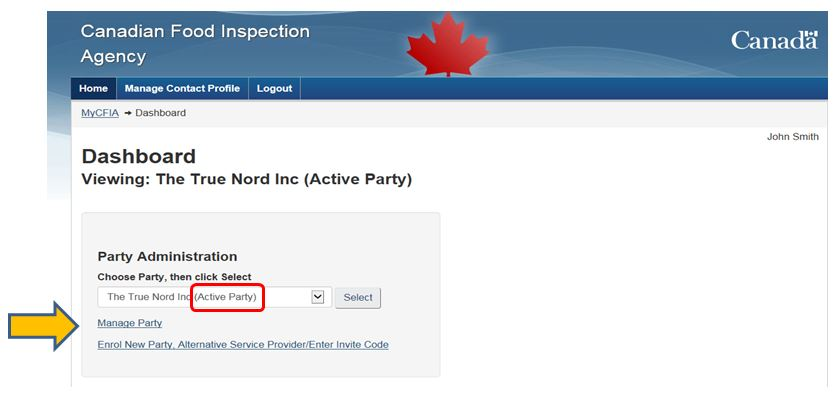 "Screen capture of the ""My CFIA"" dashboard page, showing how to select the correct party from the drop down list."