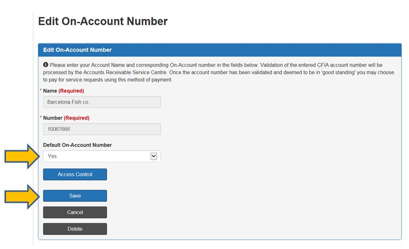 Screen capture of Edit On-Account Number. Description follows.