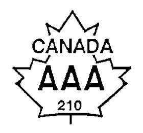 Outline of a maple leaf with the top of the maple leaf unattached to the rest of the maple leaf as a crown. Between the top of the maple leaf and the rest of the maple leaf the word CANADA is written and centered in uppercase bold font. The text AAA and the number 210 is written and centered inside the bottom part of the maple leaf, also in uppercase bold font. The text Canada AAA is an example of the grade name of the ovine carcass, while the number 210 serves as an example of the grader's code number.