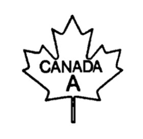 Outline of a maple leaf with the following text written inside and centered: the word CANADA, and below the letter A, all in uppercase bold font. The text CANADA A is the bilingual grade name of the poultry carcass.