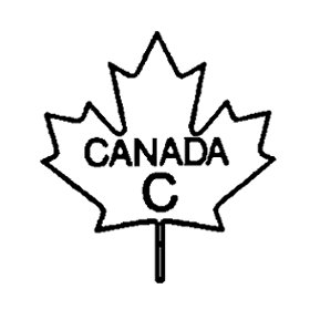 Outline of a maple leaf with the following text written and centered inside: the word CANADA, and below the letter C, all in uppercase bold font. The text CANADA C is the bilingual grade name of the poultry carcass.