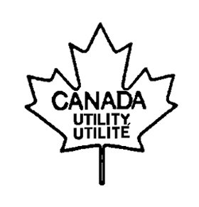 Outline of a maple leaf with the following text written and centered inside: the word CANADA, below the word UTILITY, and below the word UTILITÉ, all in uppercase bold font. The text CANADA UTILITY UTILITÉ is the bilingual grade name of the poultry carcass.