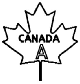 Outline of a maple leaf with the following text written and centered inside: the word CANADA in uppercase bold text, and below that, the letter A in uppercase outlined text. The text CANADA A is the bilingual grade name of the egg.