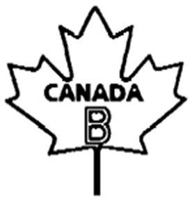 Outline of a maple leaf with the following text written and centered inside: the word CANADA in uppercase bold text, and below that, the letter B in uppercase outlined text. The text CANADA B is the bilingual grade name of the egg.