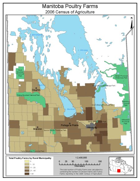 Figure 1: Location of Poultry Production Types in Manitoba. Description follows.