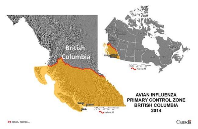 Picture - Map showing the Primary Control Zone in the Highly Pathogenic Avian Influenza outbreak in British Columbia, 2014. Description follows.