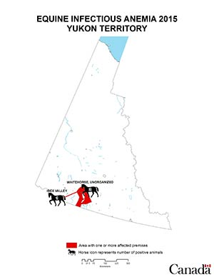 Map - Equine Infectious Anemia 2015, Yukon. Description follows.