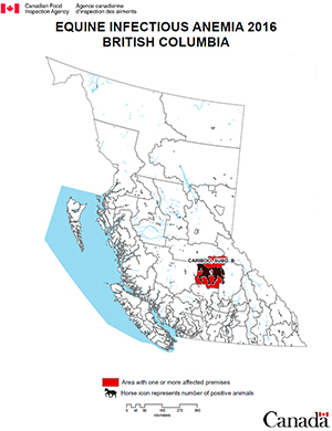 Map - Equine Infectious Anemia 2016, British Columbia. Description follows.