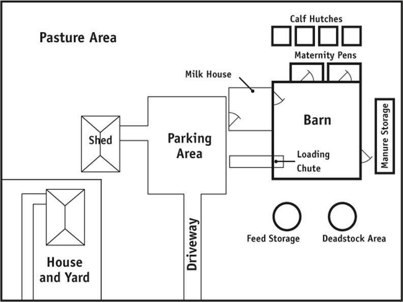 Diagram of a simple dairy farm site. Description follows.
