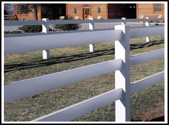 A picture of a vinyl post and rail horse fence
