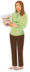 A woman reading the information found on the back panel of a box of oatmal cereal.