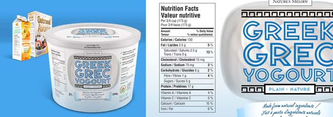 A 500 grams container of Greek yogourt at the front with a carton orange juice and a box of oatmeal cereal in the far back left corner. To the right is a closer view of the Nutrition Facts table on the Greek yogourt label.