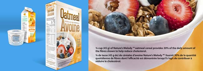 A box of oatmeal cereal at the front with a container of Greek yogourt and a carton of orange juice in the far back left corner. To the right is a closer view of the nutrition claim on the oatmeal cereal label.