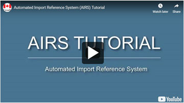 screen capture of Video – Video - Automated Import Reference System (AIRS) Tutorial.