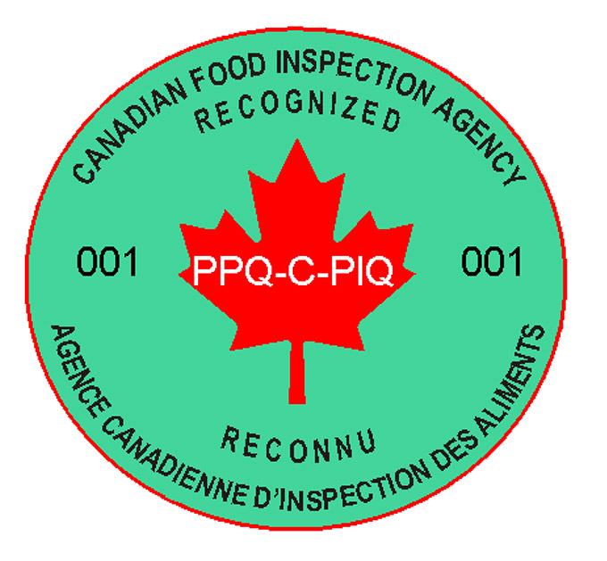Canadian Partners in Quality Logo, each pallet of product intended to be exported to the United States or Puerto Rico must be labelled with the Logo.