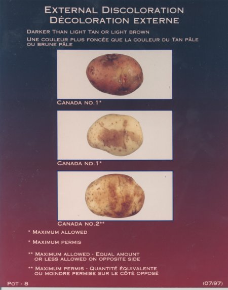 External discolouration, darker than light tan or light brown – maximum allowed for Canada number one or Canada number two potatoes