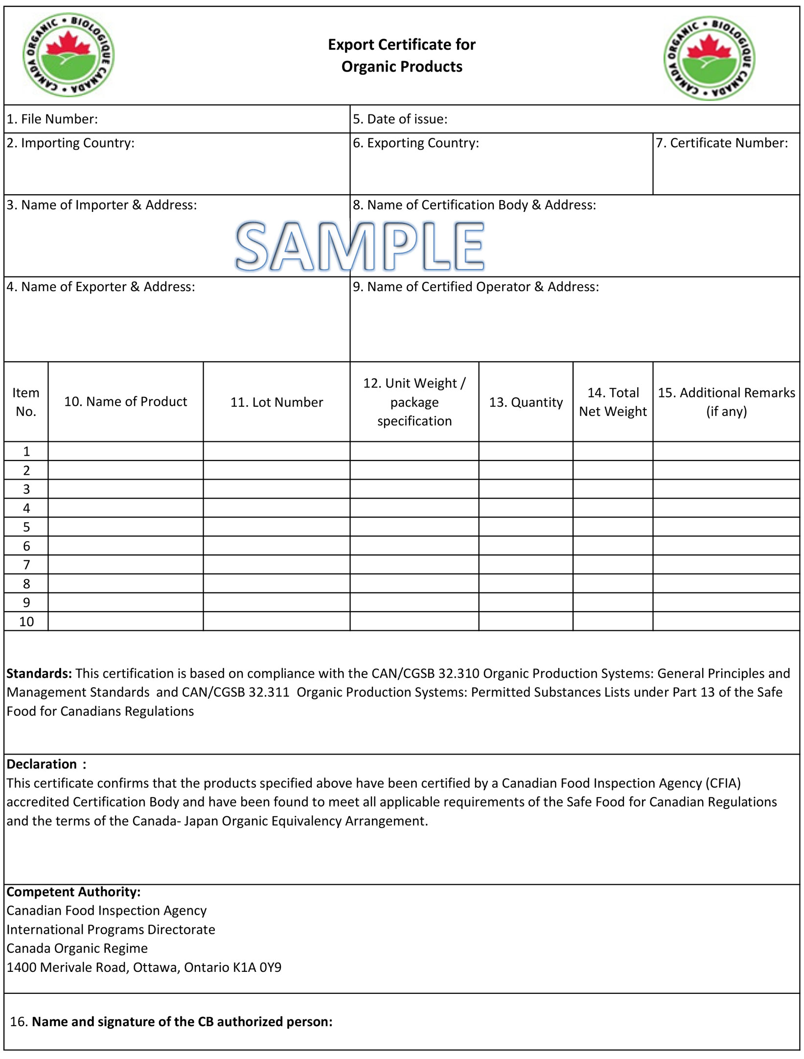 Export Certificate for Organic Products - description follows