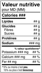 Nutrition Facts Table Standard Format in French