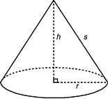 Mathematical Calculations - Total area of cone is equal to area of cone plus area of base