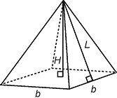 Mathematical Calculations - Total area of pyramid with a square base is equal to area of 4 triangles plus area of base
