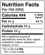 Nutrition Facts table - simplified standard format. Description follows.